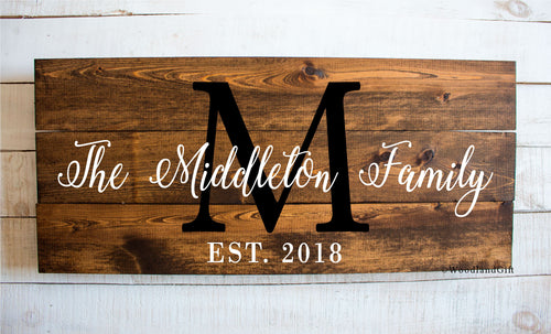 Personalized Family Name Wood Plank Sign Made in USA