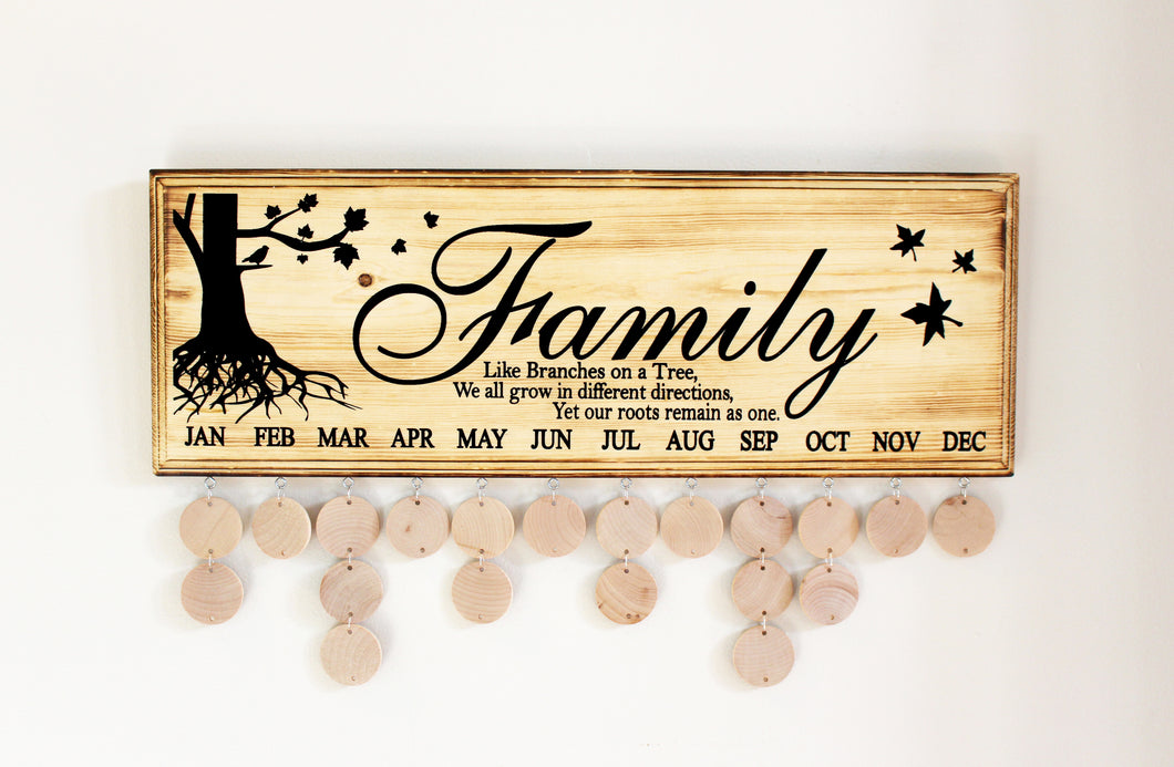 family like branches on a tree birthday sign woodland shanty