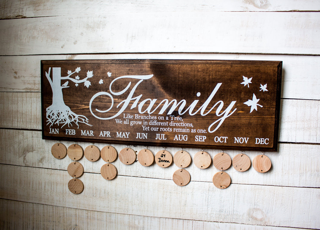 Family Like Branches on a Tree Birthday Sign - Espresso