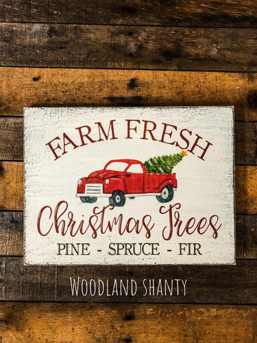 Christmas Tagged Vintage Truck Sign Woodland Shanty