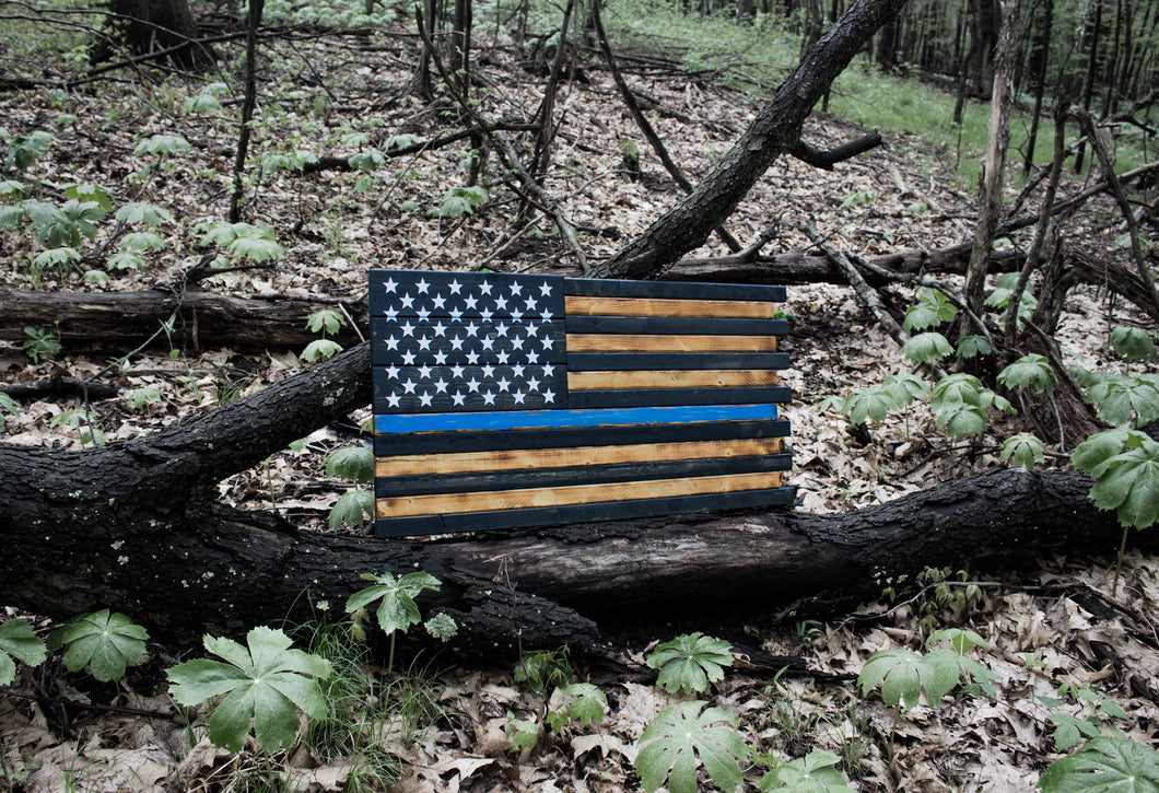 Thin Blue Line Flag Large Flag Wood Sign