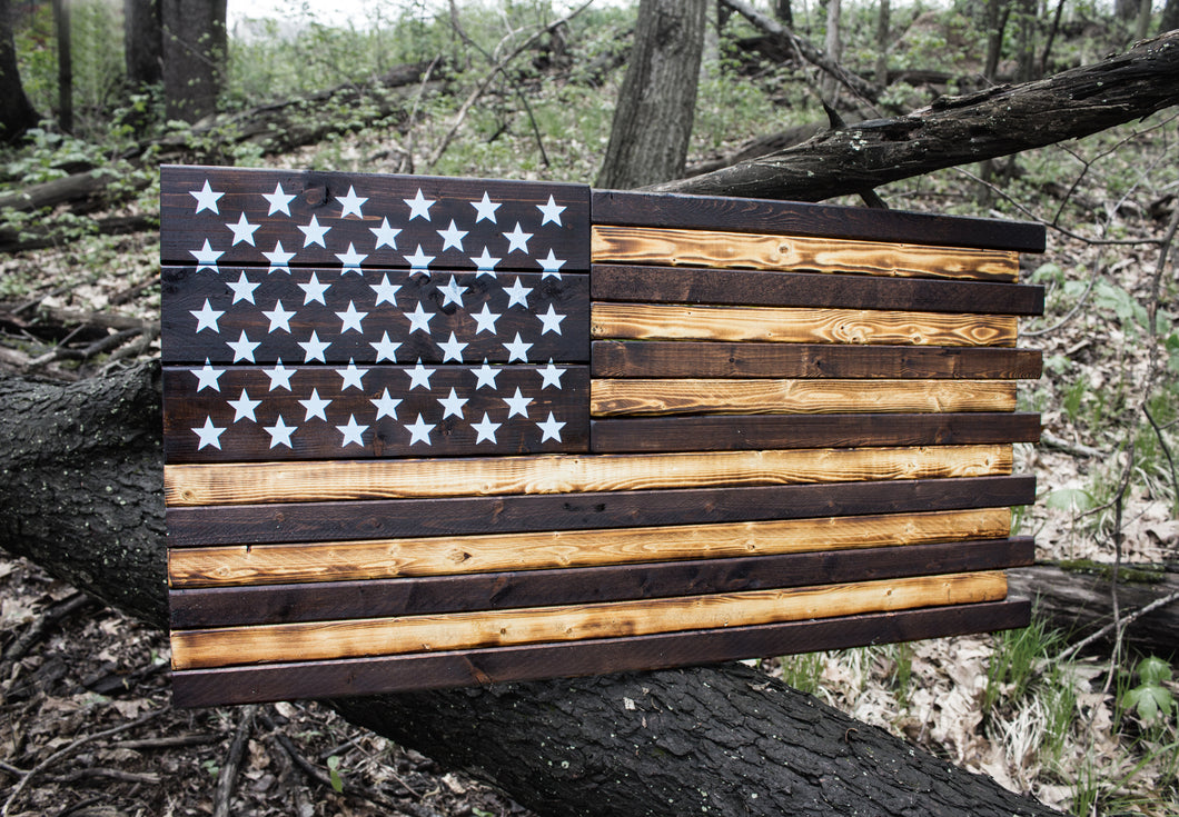 Rustic Neutral Wood American Flag Sign Made in USA