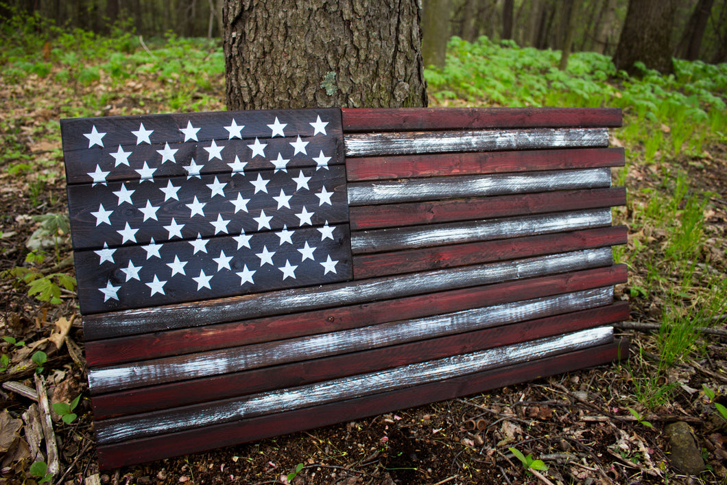 Large Wood American Flag - Red, White & Blue