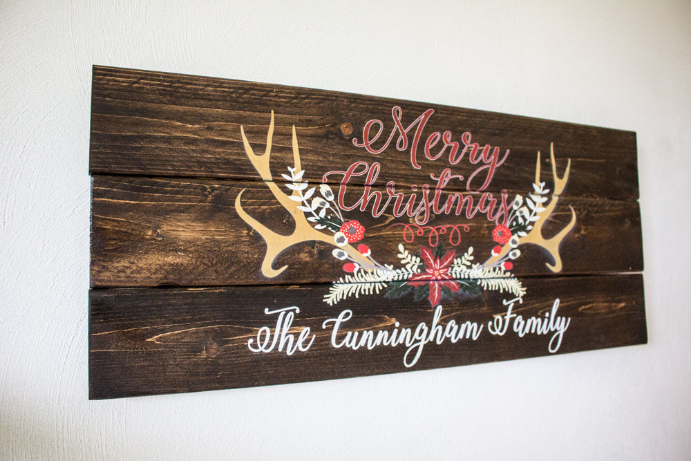 Personalized Merry Christmas Wood Plank Sign