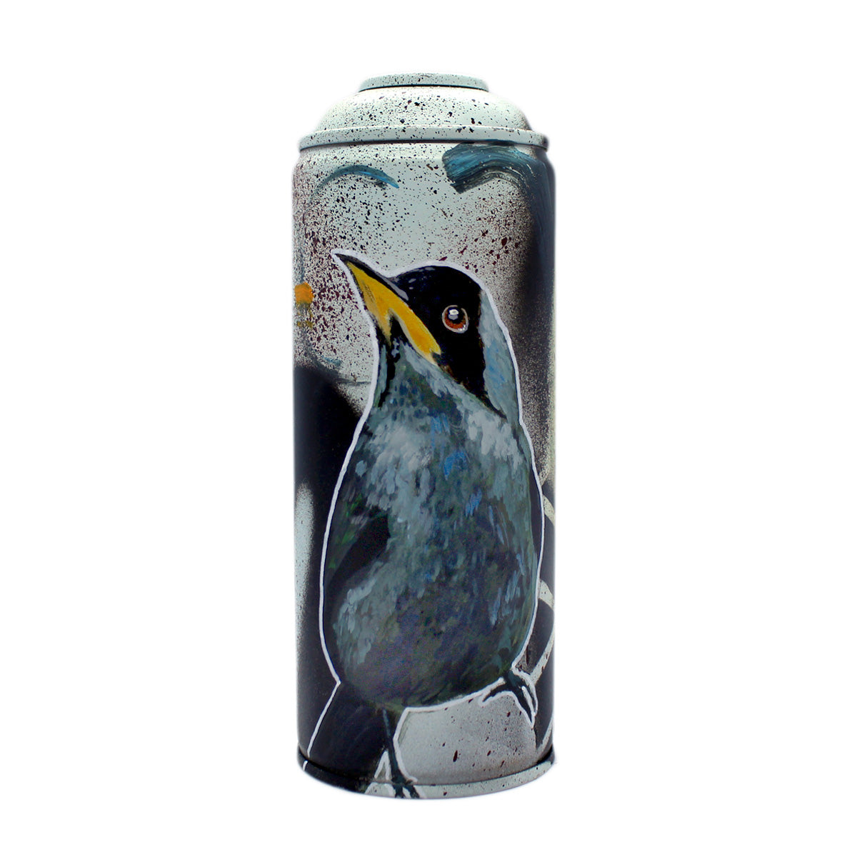 Green Honycreeper - Hand-Painted Spray Paint Can