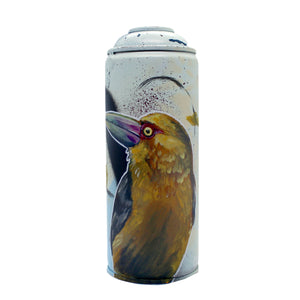Saffron Toucanet - Hand-Painted Spray Paint Can