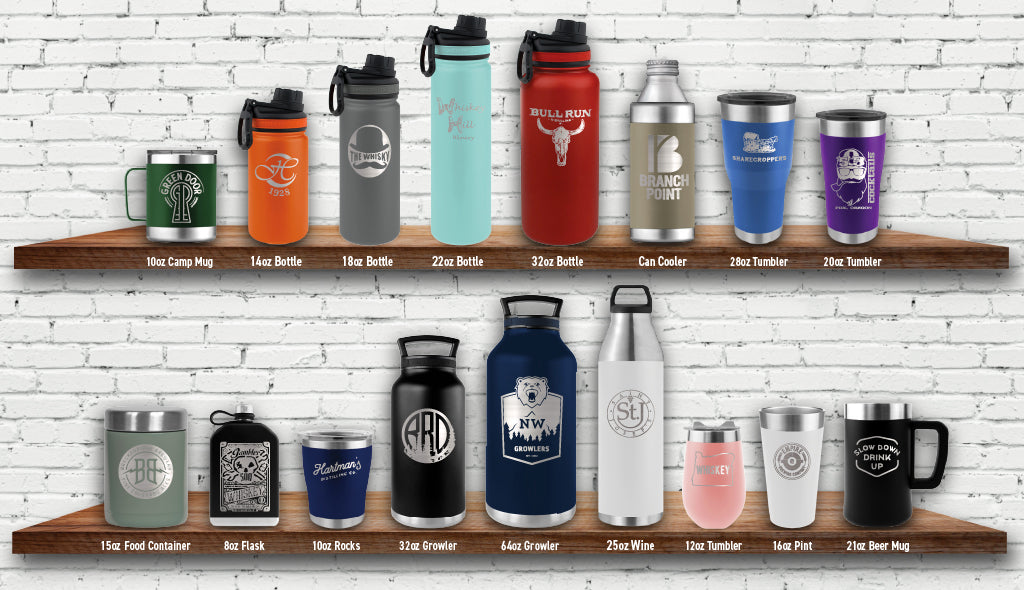 Select from a wide variety of drinkware. Choose from wide variety of camp coffee mugs, sport bottles, tumblers, flasks, and growlers.