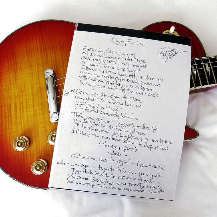 Handwritten Lyric (A4) Dying For Love - Crown Of Thorns
