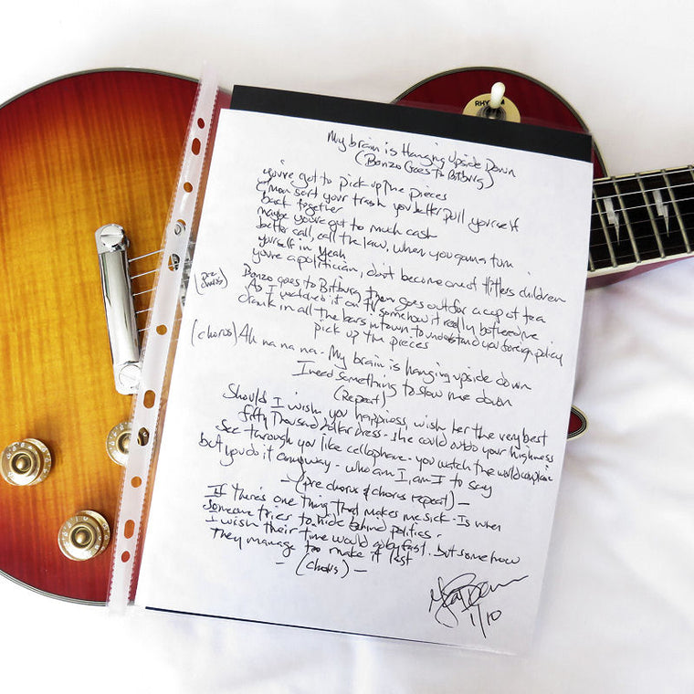 Handwritten Lyric (A4) My Brain Is Hanging Upside Down - The Ramones