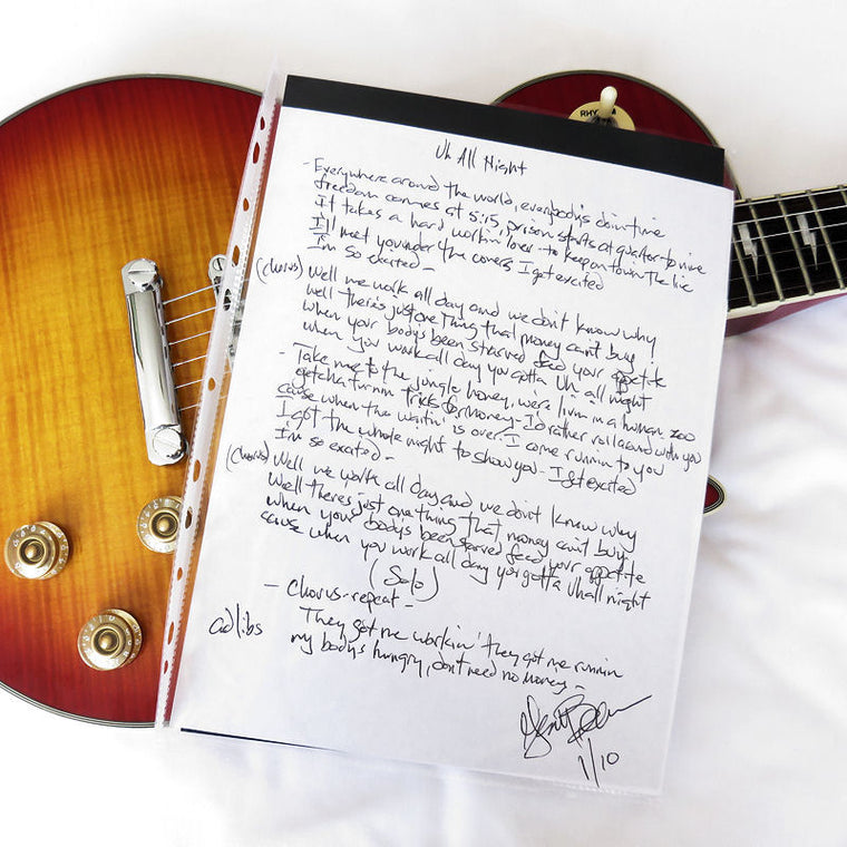 Handwritten Lyric (A4) Uh! All Night - KISS