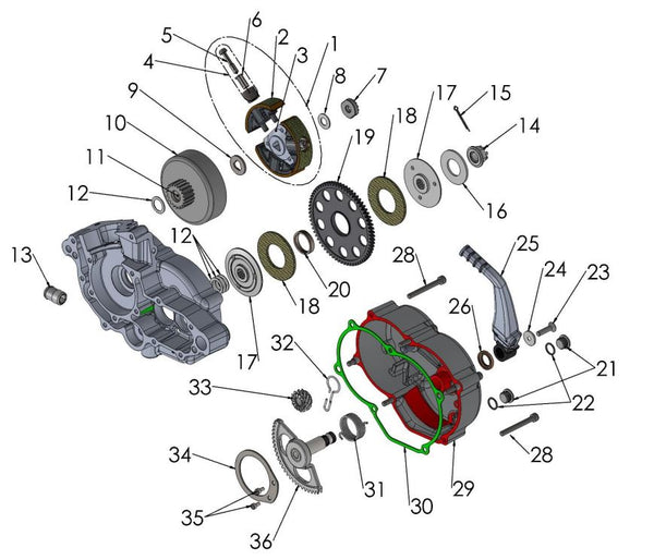 ENGINE - CLUTCH AND KICK LEVER 2020 CX50 JR