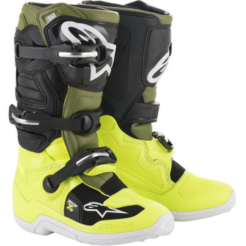 Alpinestar Tech 7S Youth MX Boot NEON YELLOW/DARK GREEN/BLACK