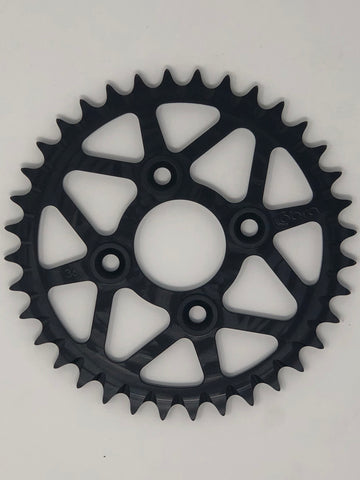 SPROCKET - BLACK ANODIZE - PDM BOLTS - 50CC (415) (CLICK FOR SIZE OPTIONS)