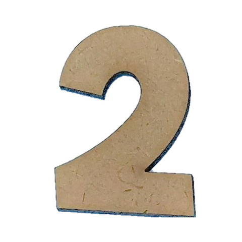 Wood Numbers - ''2'' (Two Pack)