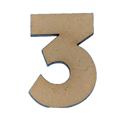 Wood Numbers - ''3'' (Two Pack)