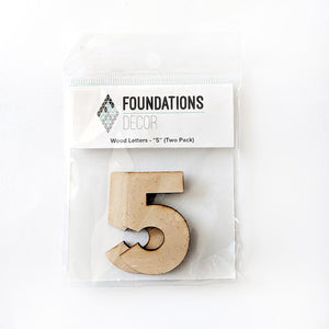 Wood Numbers - ''5'' (Two Pack)
