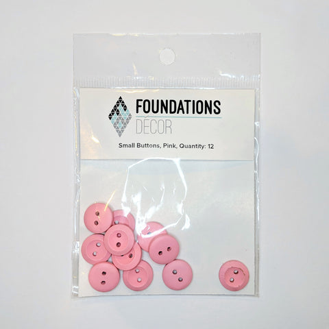 Buttons - Pink, 12 Small
