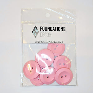 Buttons - Pink, 8 Large