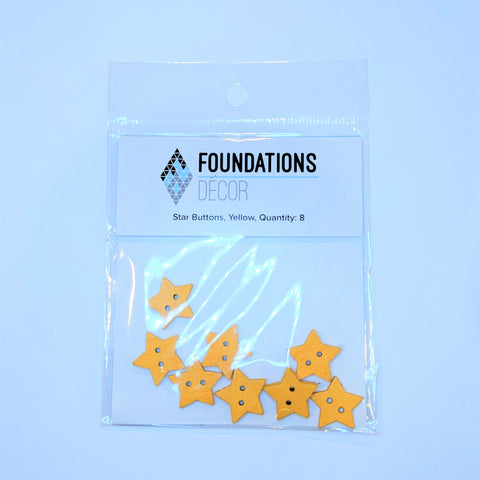 Buttons - Yellow Star, 8 buttons