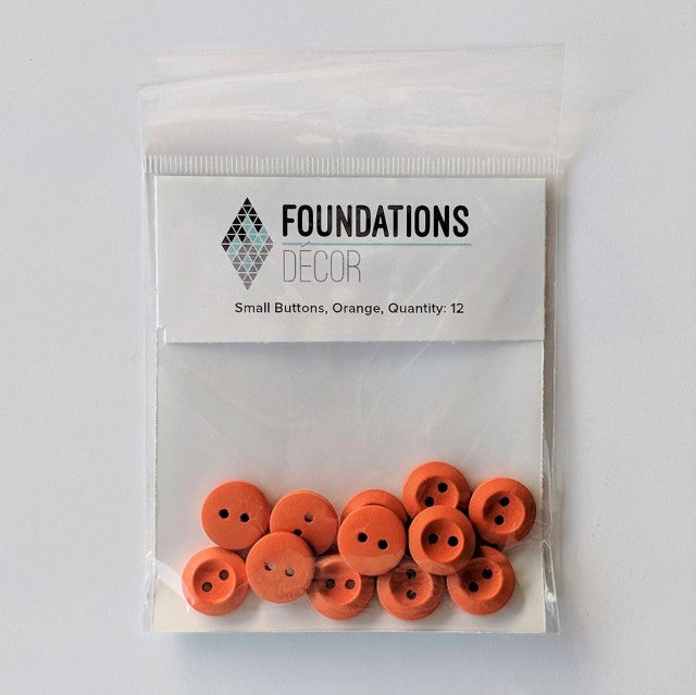 Buttons - Orange, 12 Small