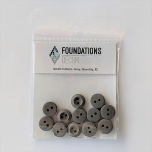 Buttons - Gray, 12 Small