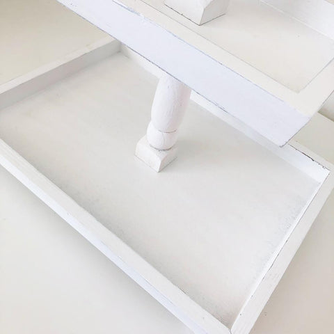 Tiered Tray - Distressed White Finish, Rectangle