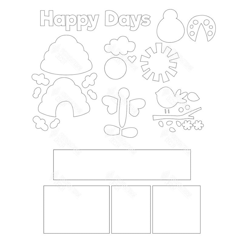 SVG File - Happy Days Shadow Box Kit