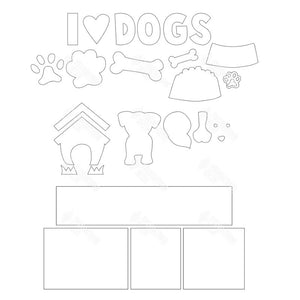 SVG File - Dogs Shadow Box Kit