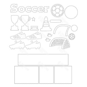SVG File - Soccer Shadow Box Kit