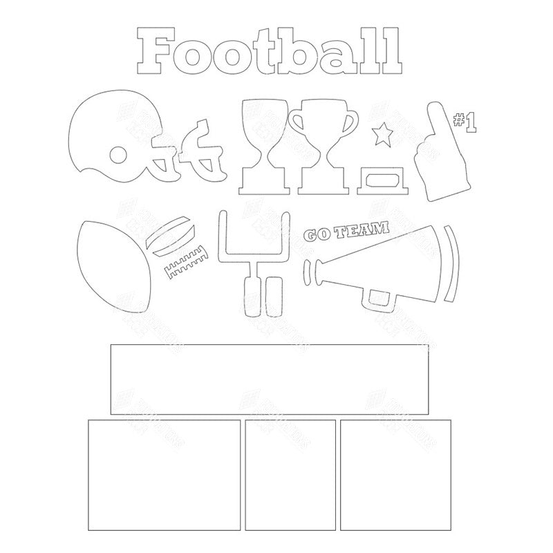 SVG File - Football Shadow Box Kit