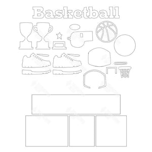 SVG File - Basketball Shadow Box Kit