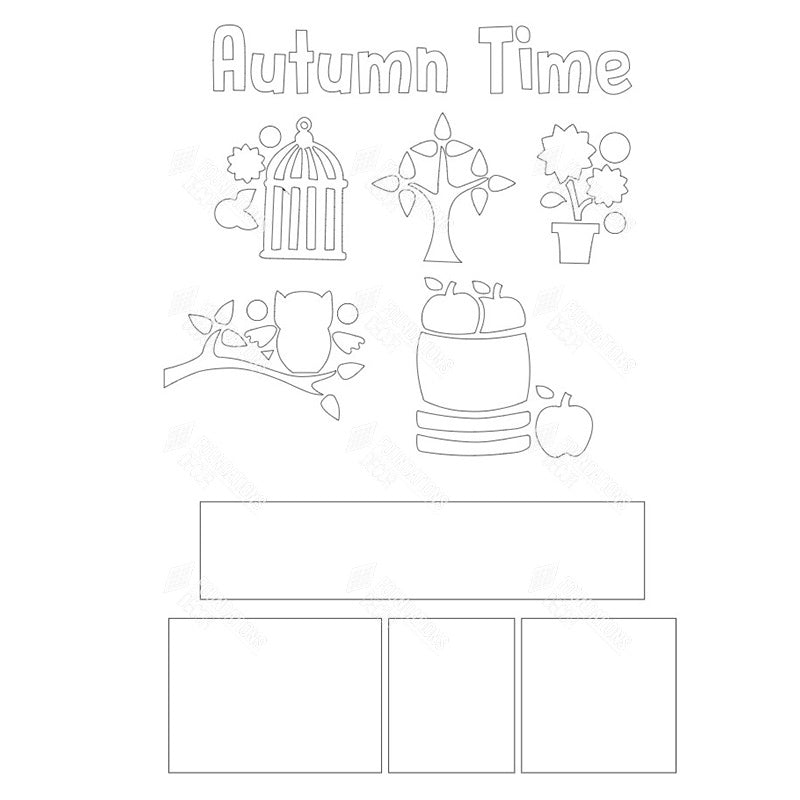 SVG File - Autumn Time Shadow Box Kit