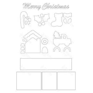 SVG File - Christmas Shadow Box Kit