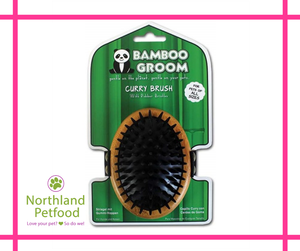 Bamboo Groom Curry Brush w/ Rubber Bristles