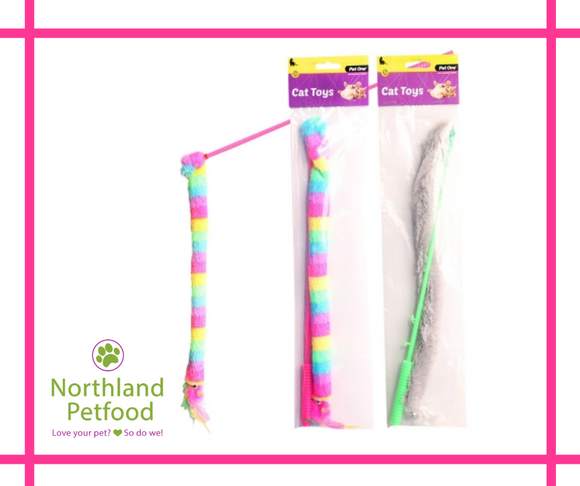 Pet One Cat Wand 40cm- Mixed Colours