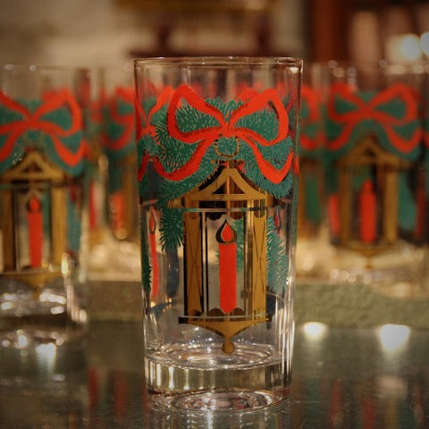 Red, Green and Gold Vintage Holiday Highball Glasses (LEO Design)