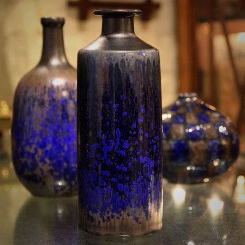 Collection of European Studio Art Pottery in Shades of Lapis Blue (LEO Design)