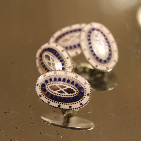 Enameled Sterling Cufflinks Modeled After George Washington's Buttons (LEO Design)