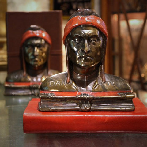 Bronze-Clad Bookends with Bust of Florentine Poet Dante Alighieri (LEO Design)