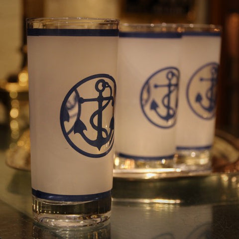 Fifties Frosted Highball Glasses with Anchor Motif (LEO Design)