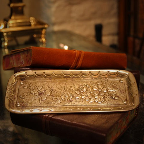 French Art Nouveau Bronze Pen Tray with Floral Decoration (LEO Design)