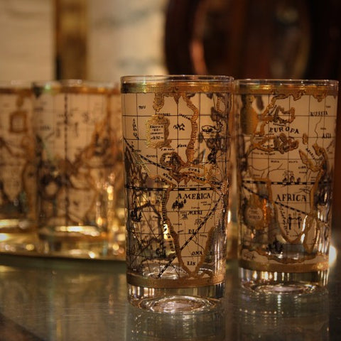 "Set of ""Olde World Map"" Highball Drinks Glasses with 22 Karat Gold Highlights (LEO Design)"