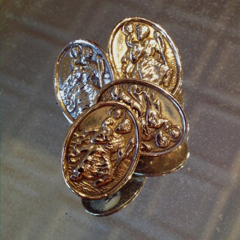 Gold Cufflinks of Saint Christopher and the Christ Child (LEO Design)
