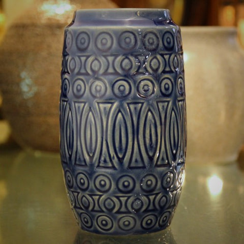 Scheurich West German Steel Blue Tribal-Incised Vase (LEO Design)