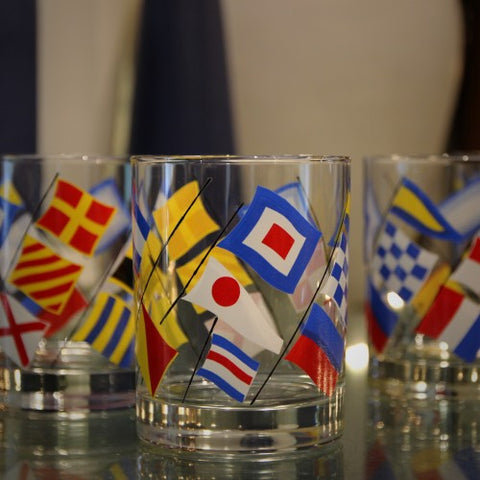 "Set of ""Nautical Flags"" Double Old Fashioned Rocks Glasses (LEO Design)"
