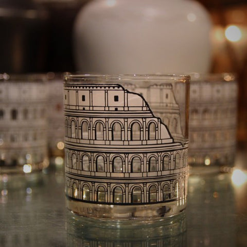 Double Old Fashioned Rocks Glasses with Roman Colosseum Decoration (LEO Design)