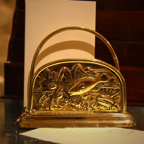 Edwardian English Brass Letter Rack with Undersea Motif (LEO Design)