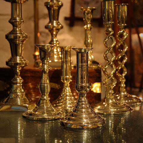 Collection of Antique Brass Candlesticks at LEO Design