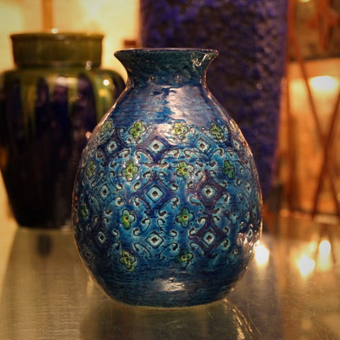 Italian Modernist Vase with Impressed Texturing and Blue Glazing (LEO Design)