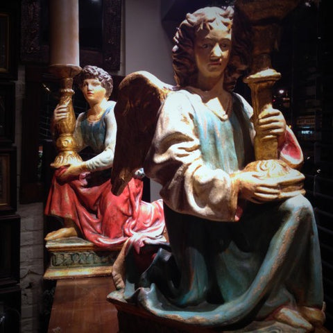 "Italian Sculpted ""San Domenico"" Angel Candlebearers After Michelangelo (LEO Design)"